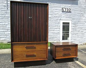 2 Pc Set Vtg Lane Mid Century Danish Modern Rosewood Walnut Wardrobe Nightstand