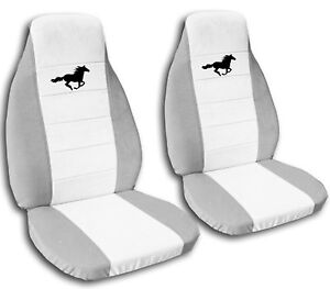 Ford Mustang Seat Covers 1994 2004 White Center And Black Horse 20 Color Options