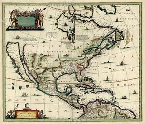 1652 North America New World Historic Vintage Style Wall Map 16x20