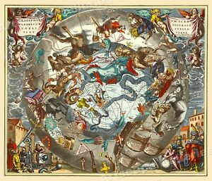 Celestial Chart Of The Zodiac 1661 Vintage Style Decorative Map 20x24