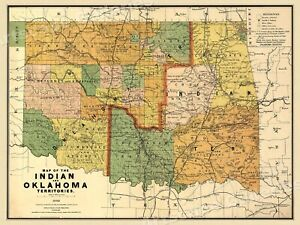 1890s Map Of The Indian And Oklahoma Territories Vintage State Map 24x32