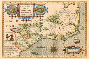 1623 Virginia And East Coast Colonial Wall Map 16x24