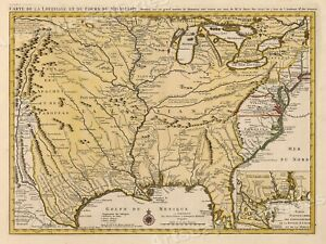 1730 Mississippi River Louisiana Territory Historic Vintage Style Wall Map 20x28