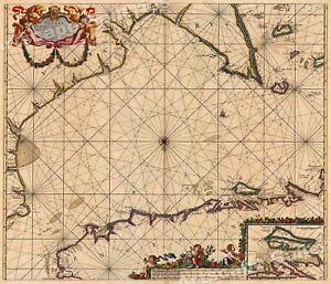 1702 Sea Chart Of The English Channel Vintage Style Navigational Map 16x20