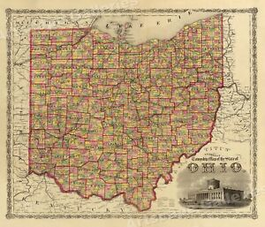 1860s Township Map Of The State Of Ohio Vintage Style Us Map 16x20