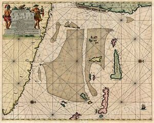 Sea Chart Of Cuba And Florida 1701 Vintage Style Navigation Map 16x20