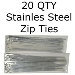 20 Stainless Steel 12 Cable Zip Ties Metal Self Locking Straps Exhaust Bands