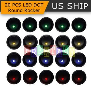 8pcs Led Dot Light 12v Car Auto Boat Round Rocker On Off Toggle Spst Switch