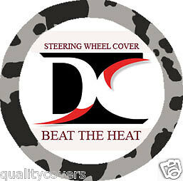 Silver And Black Cow Steering Wheel Cover