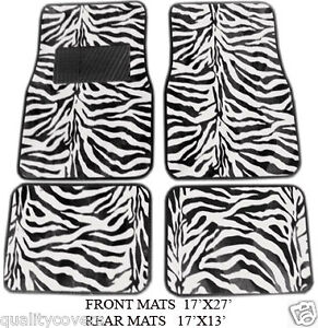 4 Piece White Zebra Floor Mats Front And Rear