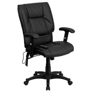 Flash Mid back Massaging Black Leather Executive Swivel Office Chair Bt 2770p gg