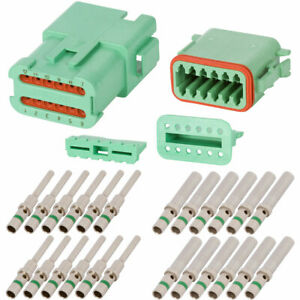 Dt Enhanced Seal 12 Pin Green Connector Kits W 14 Awg Solid Contacts