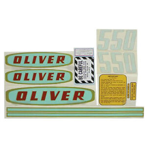New Oliver Tractor Decal Set 550 Gas Green With Gold