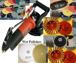 Wet Polisher Concrete Polishing 25 Pad 5 Buff 5 Grinding Wheel Granite Grinder