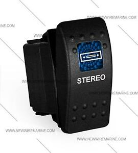 Labeled Marine Contura Ii Rocker Switch Carling Lighted Stereo blue Lens