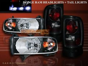 1994 2001 Dodge Ram 1500 Black Headlights Led Amber Dark Smoke Tail Lights