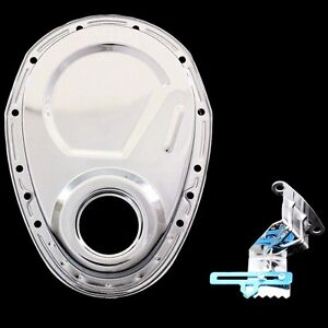 Chrome Timing Chain Cover And 7 Inch Tab Fits Small Block Chevy 283 327 350 Sbc