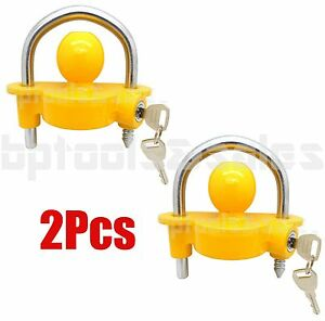Lot Of 2 Universal Trailer Ball Hitch Coupler Lock Ball Tongue 1 7 8 2 2 5 16