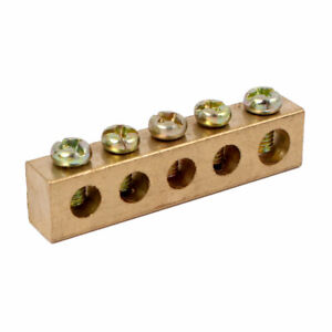 5 Holes Single Row Electrical Wire Screw Terminal Ground Copper Neutral Bar