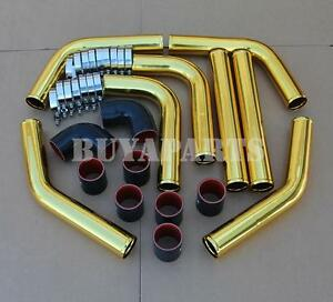 Gold 2 5 8x Aluminum Intercooler Piping Kit W black Couplers T bolt Clamps