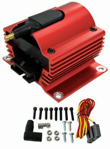 Red Universal 12 Volt External Ignition Coil E Core Coil 50k Volt Sb Chevy Ford