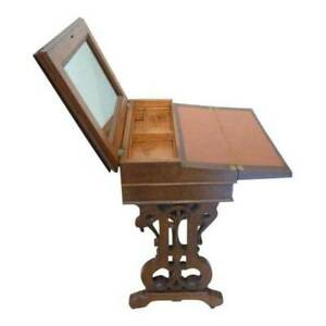 Antique 1860 Victorian Walnut Lifttop Writing Desk Leather Writing Slope Storage