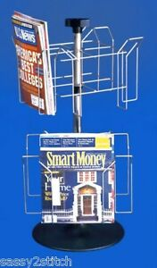 For Sale Counter Magazing Revolving Display Rack 8 Pockets chrome And Black