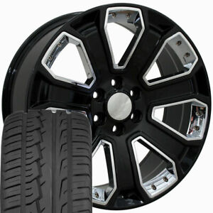 20x8 5 Black Chrome Silverado Style Wheels Tires Set Rims Fit Chevrolet Cp