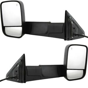 Kool Vue Mirror Set For 2013 18 Ram 1500 Towing Type Manual Folding Textured 2pc