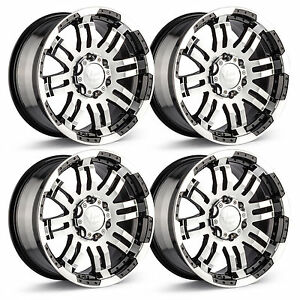 Set 4 18 6 Lug Vision Warrior Wheels Black Machined Fits Chevy Gmc Trucks 6x5 5