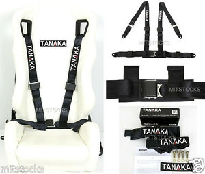 1x Tanaka Universal Black 4 Point Ez Release Buckle Racing Seat Belt Harness New