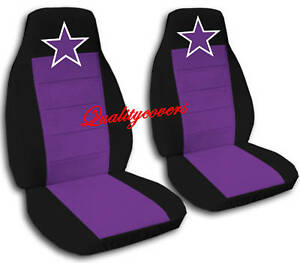 2 Black And Purple Nautical Star Velvet Seat Covers Universal Size