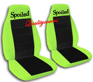 2 Lime Green And Black Spoiled Velvet Seat Covers Universal Size