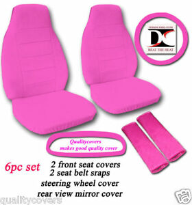 6 Piece Set Hot Pink Velvet Seat Covers Universal Size