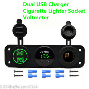 12v Dual Usb Charger Car Cigarette Lighter Socket Adapter Led Digital Voltmeter