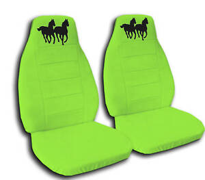2 Lime Green Horse Car Seat Covers Universal Size