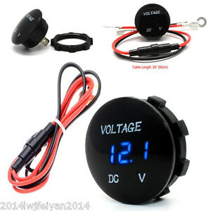 Blue Led Digital Voltmeter Meter Car Voltage Display Round Mini Panel Waterproof