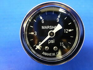 Marshall Gauge 0 15 Psi Fuel Pressure Oil Pressure Gauge Black 1 5 Diameter