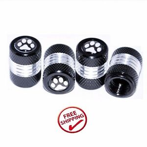 Brand New Paw Print Pack Of 4 Black Base Tire Air Valve Caps Fit All Schrader