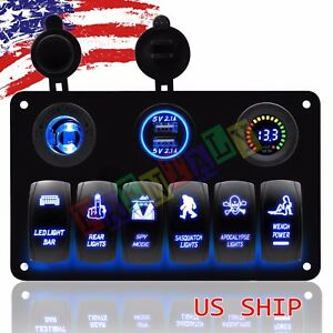 6 Gang Car Marine Rocker Switch Panel Usb Socket Power Plug Voltmeter Charger