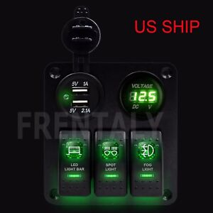 3 Gang Waterproof Usb Toggle Automotive Switch Panel Led Car Marine Truck Rocker