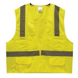 25 High Visibility Class 2 Surveyor Safety Vest W pockets Meets Ansi lime