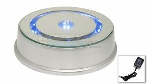 Merchandise Display 8 Base Rotating Turntable Silver Mirrored Led Lighted Blue