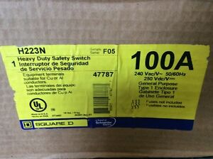 Square D Safety Switch H223n 100 Amp 240 Volt Fusible 2 Pole Disconnect
