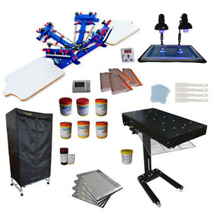 4 Color Screen Printing Press Kit Flash Dryer exposure drying Oven Diy Materials