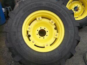 Two New 17 5x24 R4 John Deere kubota Backhoe Tires W 8 On 8 Hole Wheels
