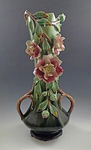 VICTORIAN FRENCH BARBOTINE MAJOLICA CABBAGE ROSE HANDLED LARGE VASE 14quot;