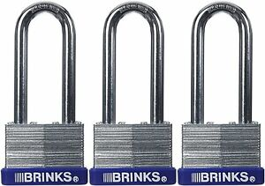 Brinks 162 44302 44mm Laminated Steel Padlock With 2 inch Shackle 3 pack