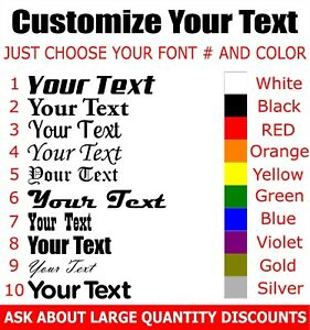 Personalize Your Text Custom Vinyl Decal Sticker Car Bumper Window Notebook