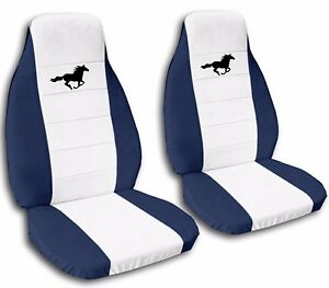 Car Seat Covers 1989 Ford Mustang Navy Blue White Customized Design Horse